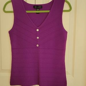 Cable&Gauge Sleeveless Purple Sweater Size Small